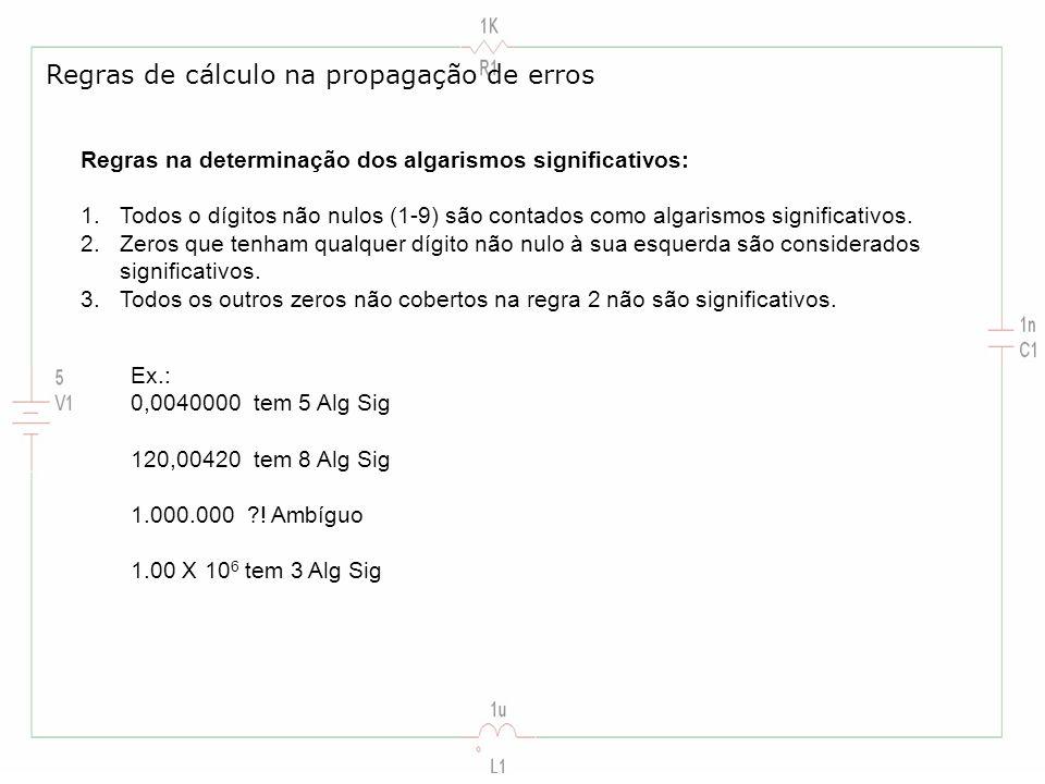 Regras de cálculo na propagação de erros
