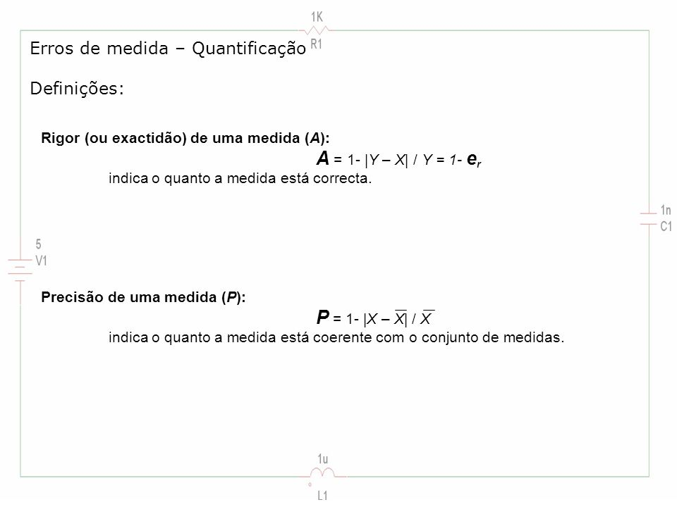 Erros de medida – Quantificação Definições: