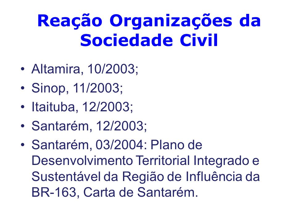 Reação Organizações da Sociedade Civil