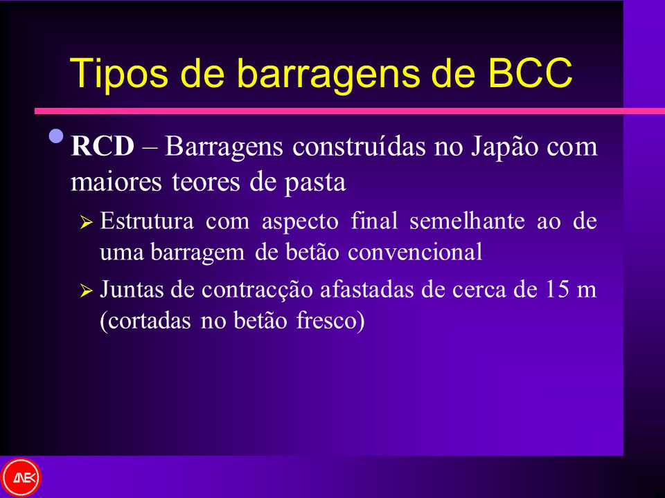 Tipos de barragens de BCC