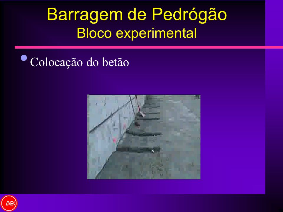 Barragem de Pedrógão Bloco experimental