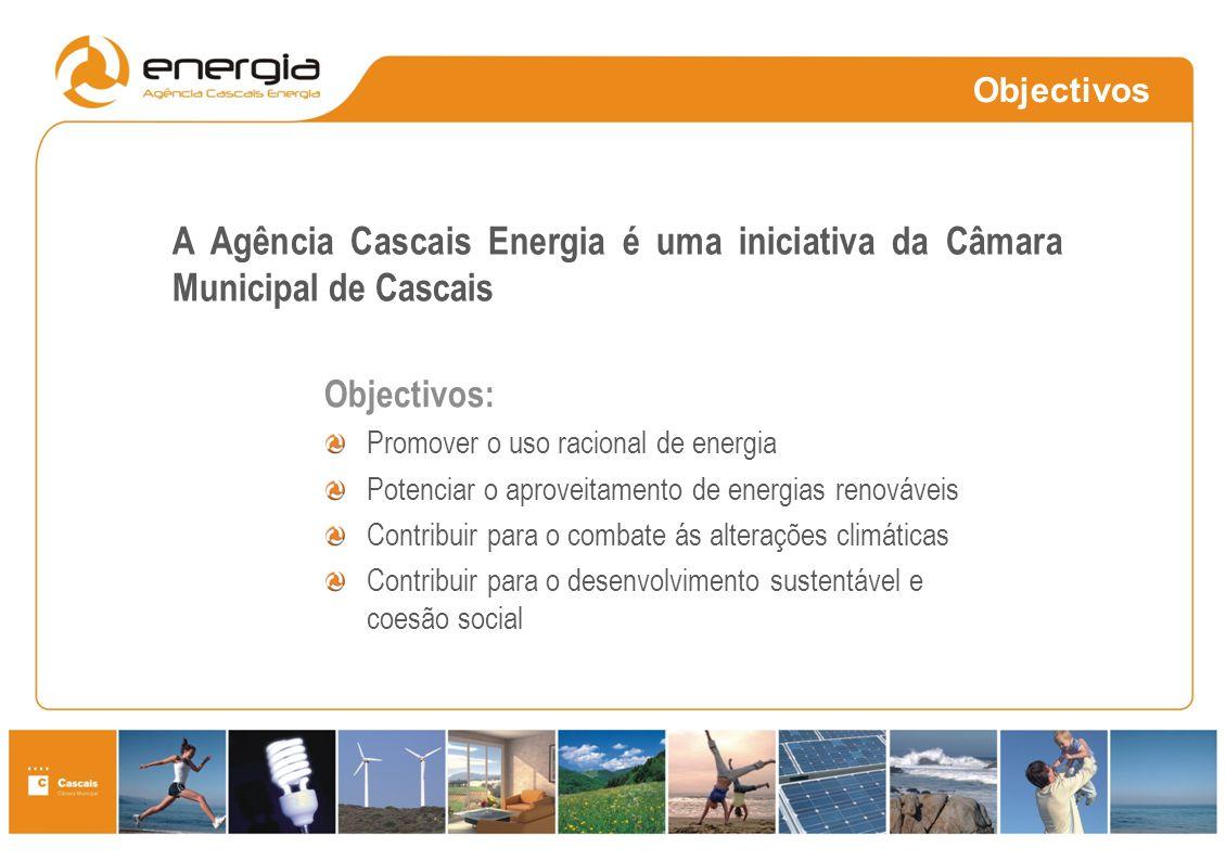 Objectivos A Agência Cascais Energia é uma iniciativa da Câmara Municipal de Cascais. Objectivos: Promover o uso racional de energia.