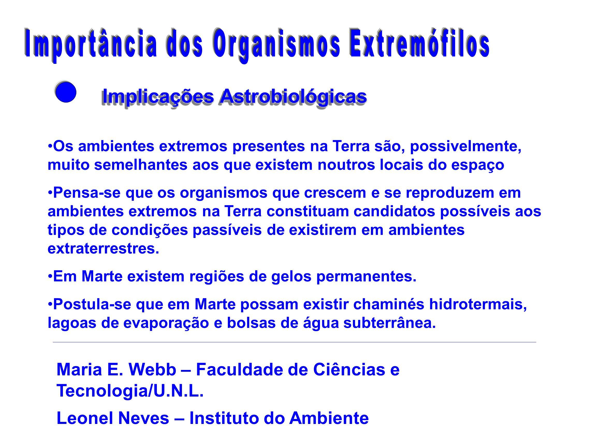Importância dos Organismos Extremófilos Implicações Astrobiológicas