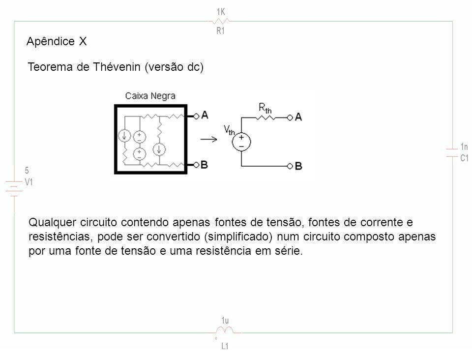 Apêndice X Teorema de Thévenin (versão dc) Qualquer circuito contendo apenas fontes de tensão, fontes de corrente e.