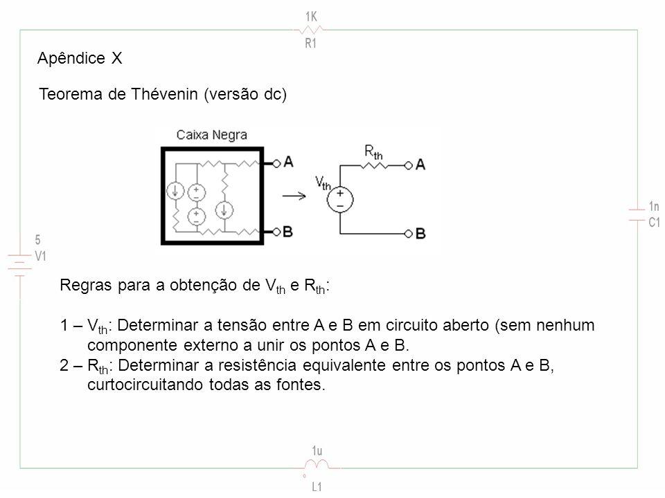Apêndice X Teorema de Thévenin (versão dc) Regras para a obtenção de Vth e Rth: