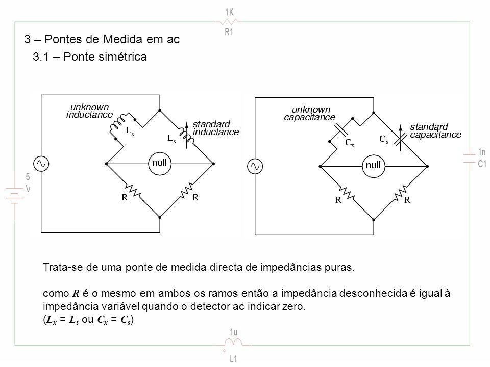 3 – Pontes de Medida em ac 3.1 – Ponte simétrica