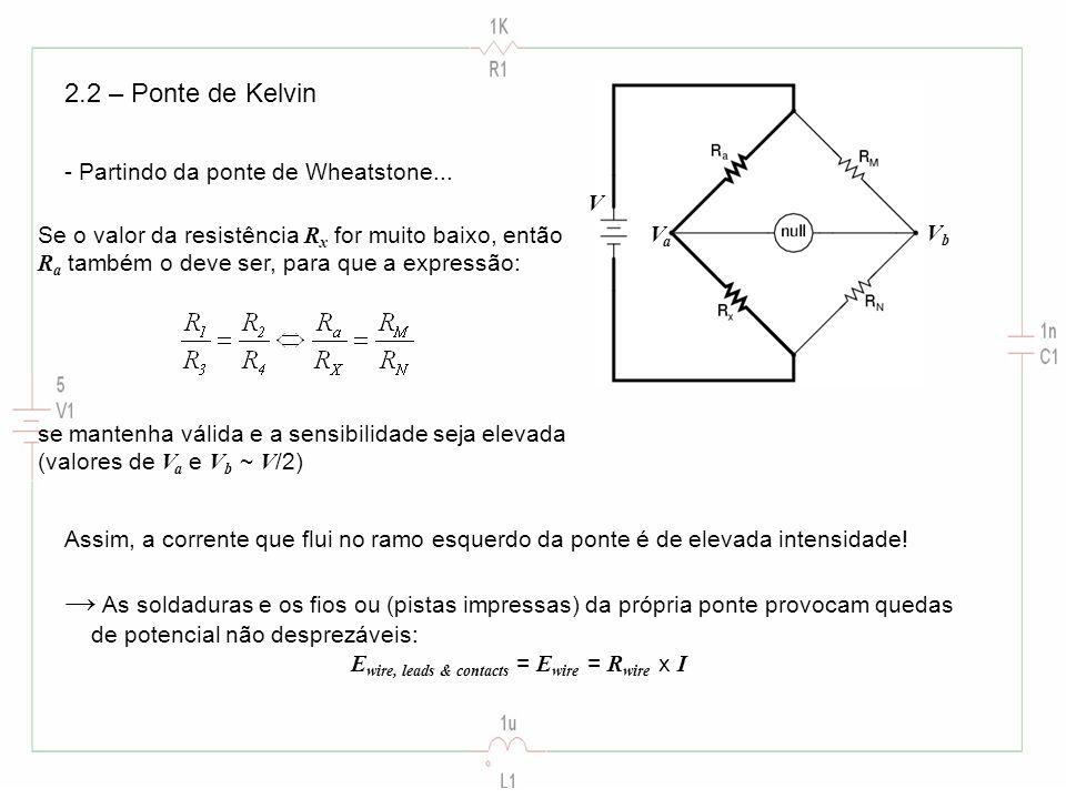2.2 – Ponte de Kelvin - Partindo da ponte de Wheatstone... V. Se o valor da resistência Rx for muito baixo, então.
