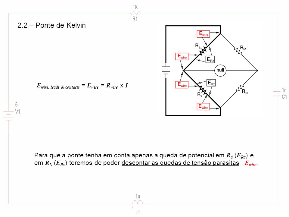 2.2 – Ponte de Kelvin Ewire, leads & contacts = Ewire = Rwire x I