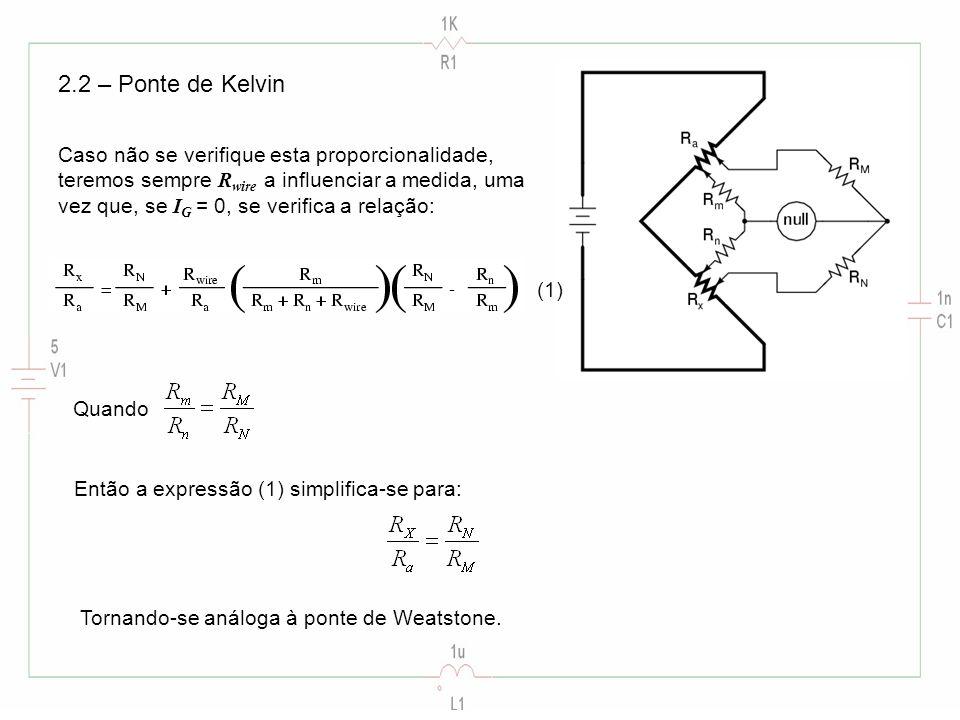 2.2 – Ponte de Kelvin Caso não se verifique esta proporcionalidade,