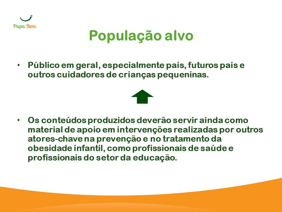 População alvo Público em geral, especialmente pais, futuros pais e outros cuidadores de crianças pequeninas.