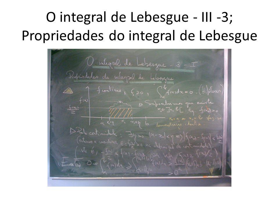 O integral de Lebesgue - III -3; Propriedades do integral de Lebesgue