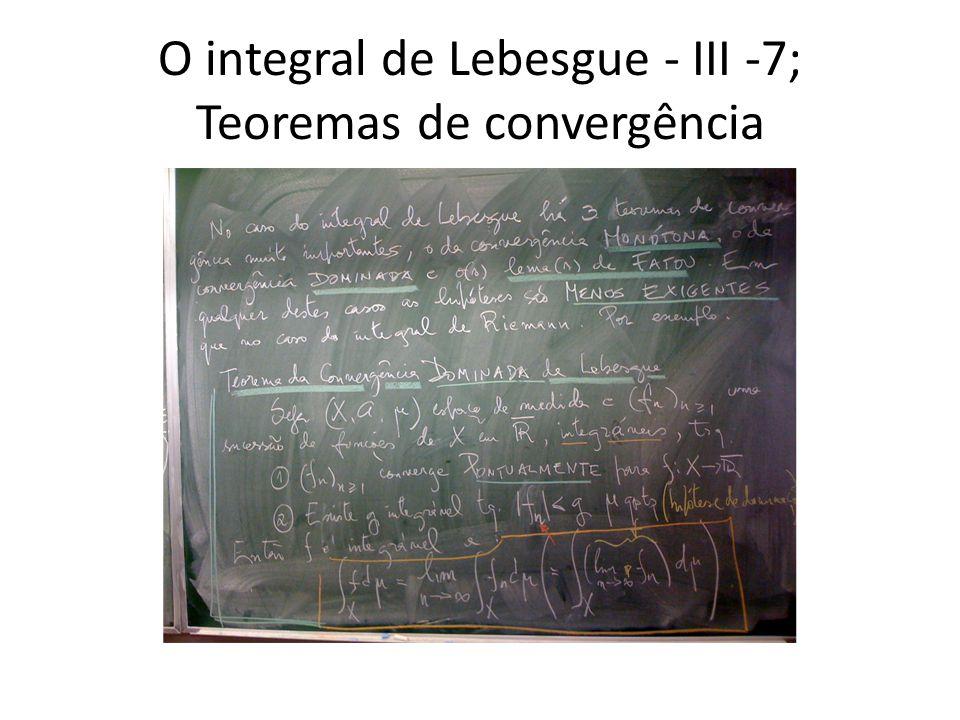 O integral de Lebesgue - III -7; Teoremas de convergência