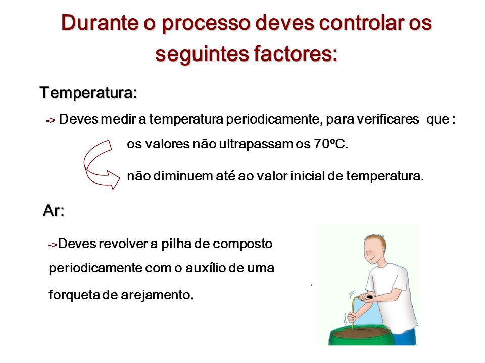 Durante o processo deves controlar os seguintes factores: