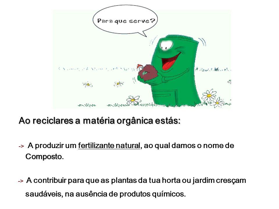 Ao reciclares a matéria orgânica estás: