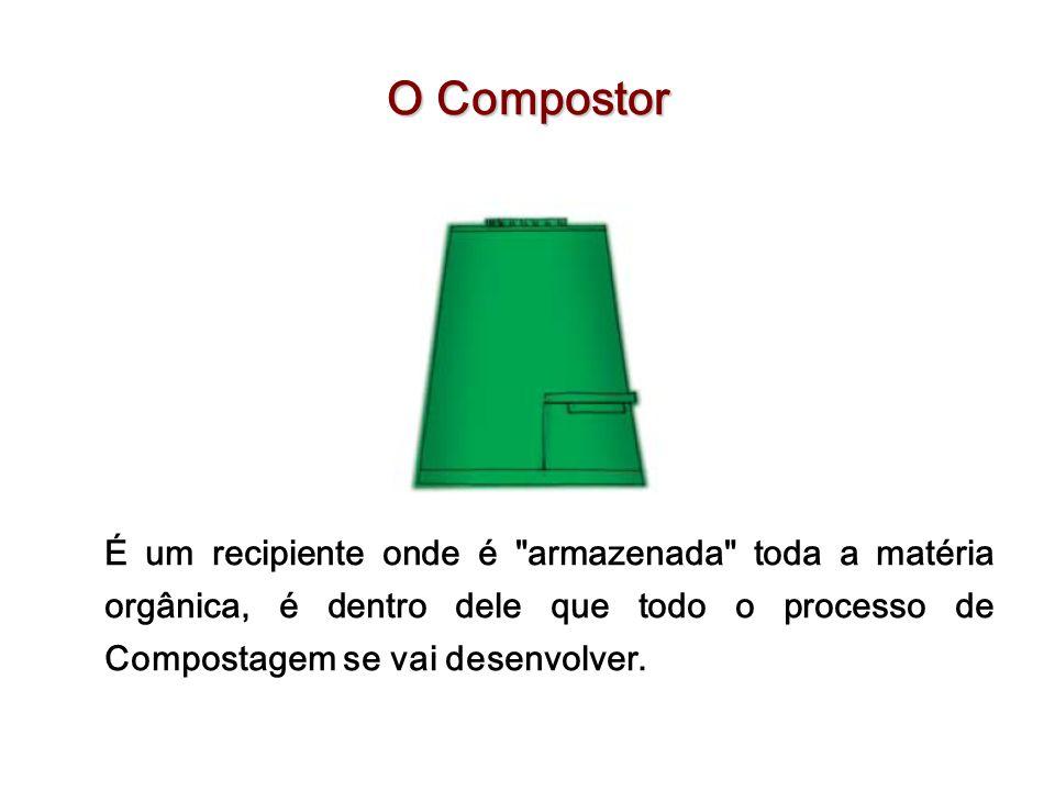 O Compostor É um recipiente onde é armazenada toda a matéria orgânica, é dentro dele que todo o processo de Compostagem se vai desenvolver.