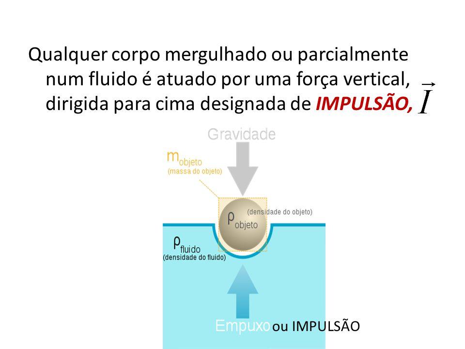Qualquer corpo mergulhado ou parcialmente num fluido é atuado por uma força vertical, dirigida para cima designada de IMPULSÃO,