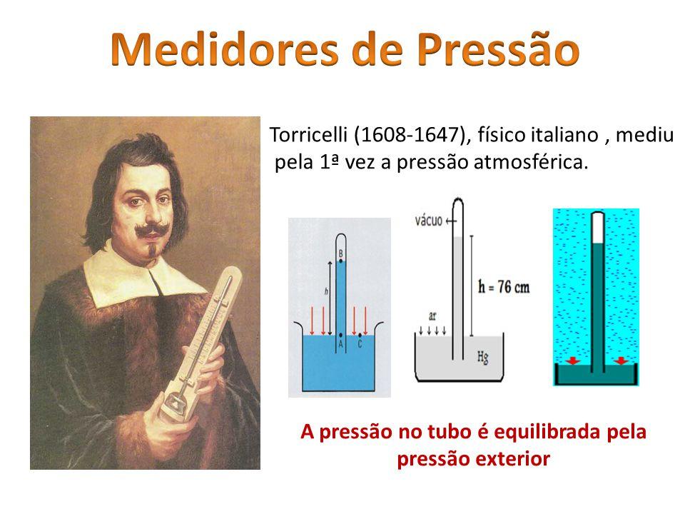 A pressão no tubo é equilibrada pela pressão exterior