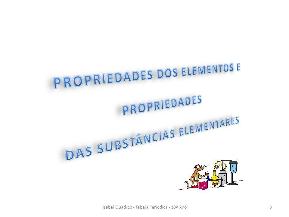 PROPRIEDADES DOS ELEMENTOS E PROPRIEDADES DAS SUBSTÂNCIAS ELEMENTARES