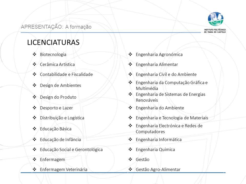 LICENCIATURAS APRESENTAÇÃO: A formação Biotecnologia