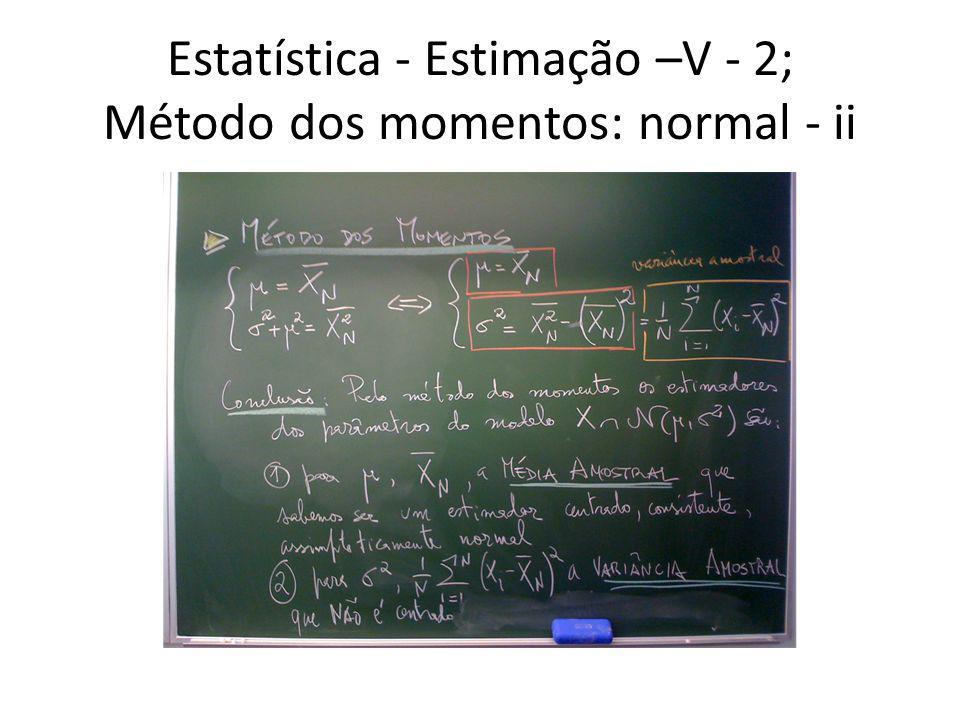Estatística - Estimação –V - 2; Método dos momentos: normal - ii