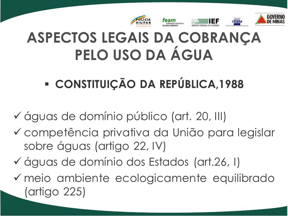 ASPECTOS LEGAIS DA COBRANÇA PELO USO DA ÁGUA