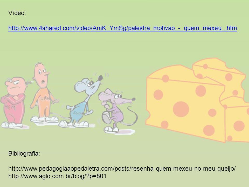 Vídeo: http://www.4shared.com/video/AmK_YmSg/palestra_motivao_-_quem_mexeu_.htm. Bibliografia: