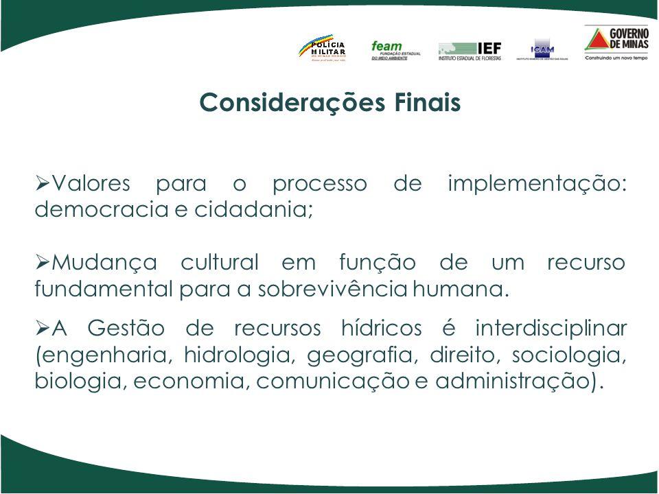 Considerações Finais Valores para o processo de implementação: democracia e cidadania;