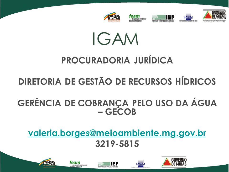 IGAM PROCURADORIA JURÍDICA DIRETORIA DE GESTÃO DE RECURSOS HÍDRICOS