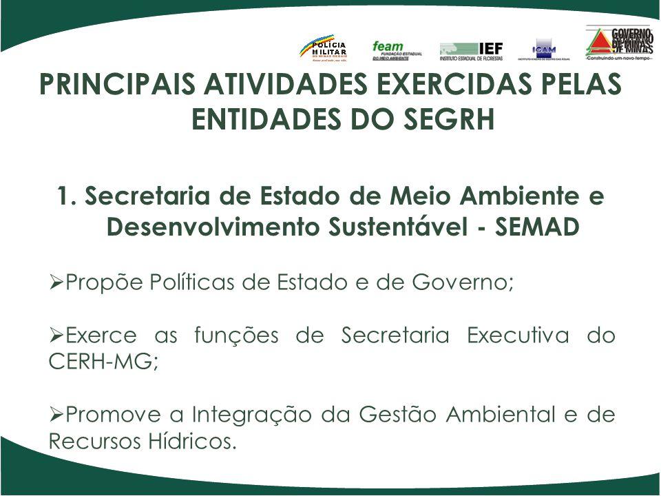 PRINCIPAIS ATIVIDADES EXERCIDAS PELAS ENTIDADES DO SEGRH