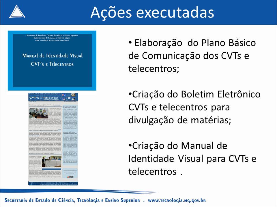 Ações executadas Elaboração do Plano Básico de Comunicação dos CVTs e telecentros;