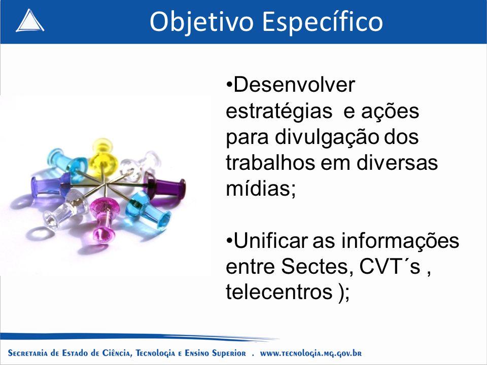 Objetivo Específico Desenvolver estratégias e ações para divulgação dos trabalhos em diversas mídias;