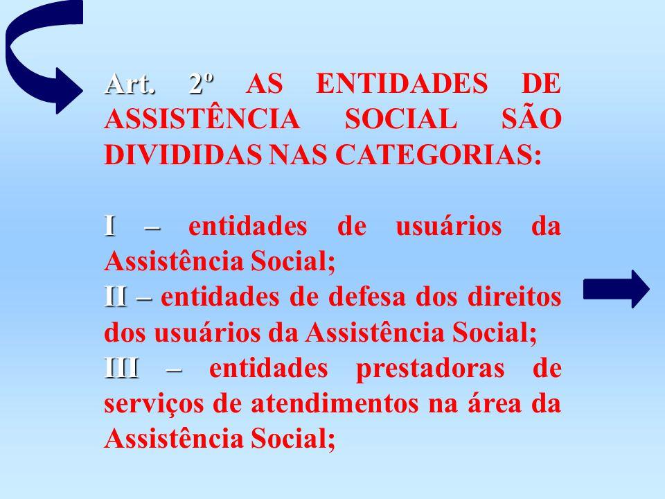 Art. 2º AS ENTIDADES DE ASSISTÊNCIA SOCIAL SÃO DIVIDIDAS NAS CATEGORIAS: