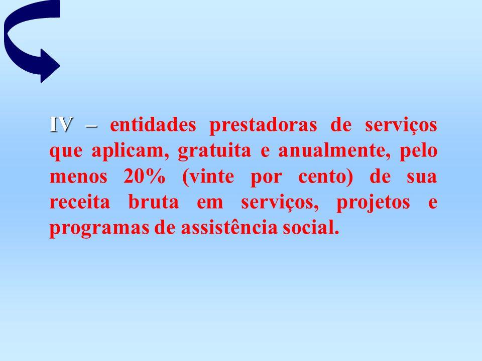 IV – entidades prestadoras de serviços que aplicam, gratuita e anualmente, pelo menos 20% (vinte por cento) de sua receita bruta em serviços, projetos e programas de assistência social.