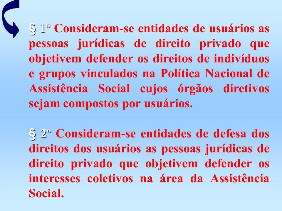 § 1º Consideram-se entidades de usuários as pessoas jurídicas de direito privado que objetivem defender os direitos de indivíduos e grupos vinculados na Política Nacional de Assistência Social cujos órgãos diretivos sejam compostos por usuários.