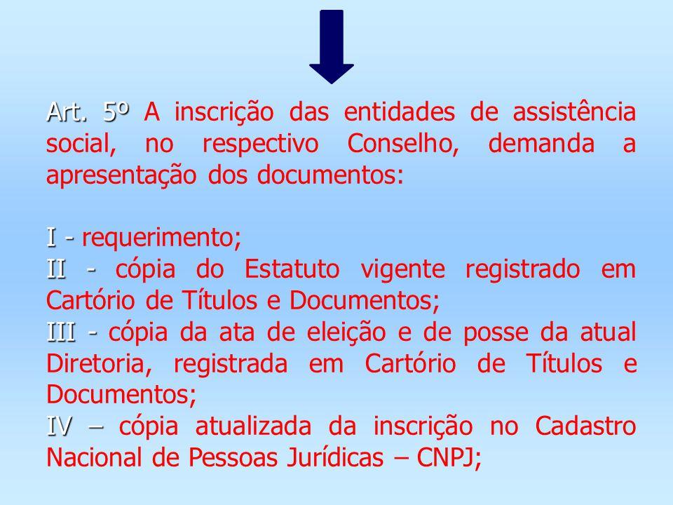 Art. 5º A inscrição das entidades de assistência social, no respectivo Conselho, demanda a apresentação dos documentos: