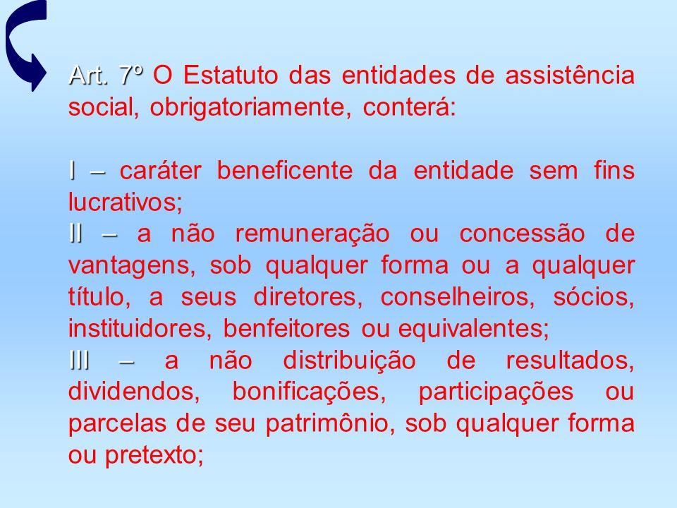 Art. 7º O Estatuto das entidades de assistência social, obrigatoriamente, conterá: