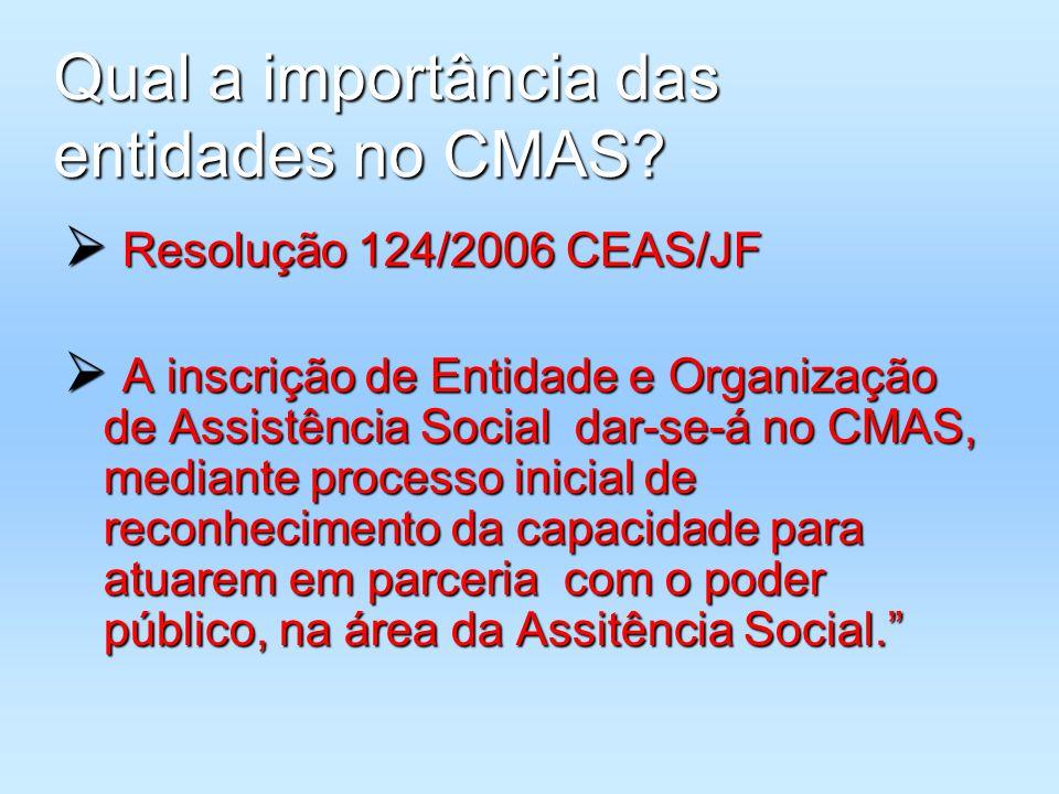Qual a importância das entidades no CMAS