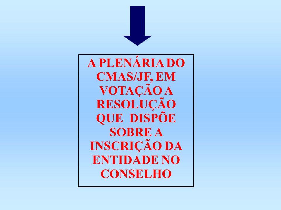 A PLENÁRIA DO CMAS/JF, EM VOTAÇÃO A RESOLUÇÃO