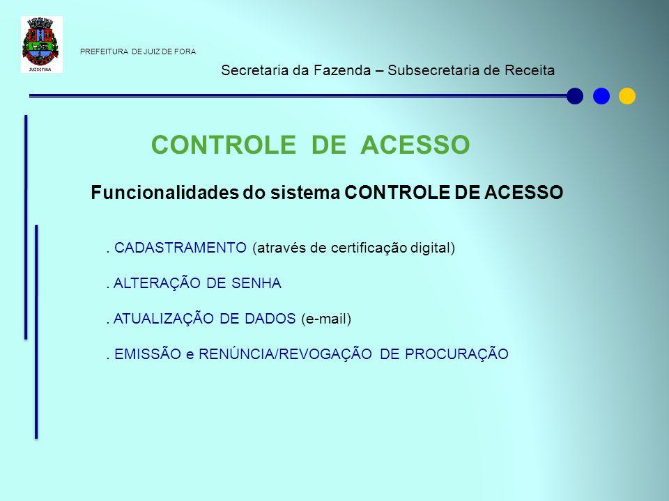 CONTROLE DE ACESSO Funcionalidades do sistema CONTROLE DE ACESSO