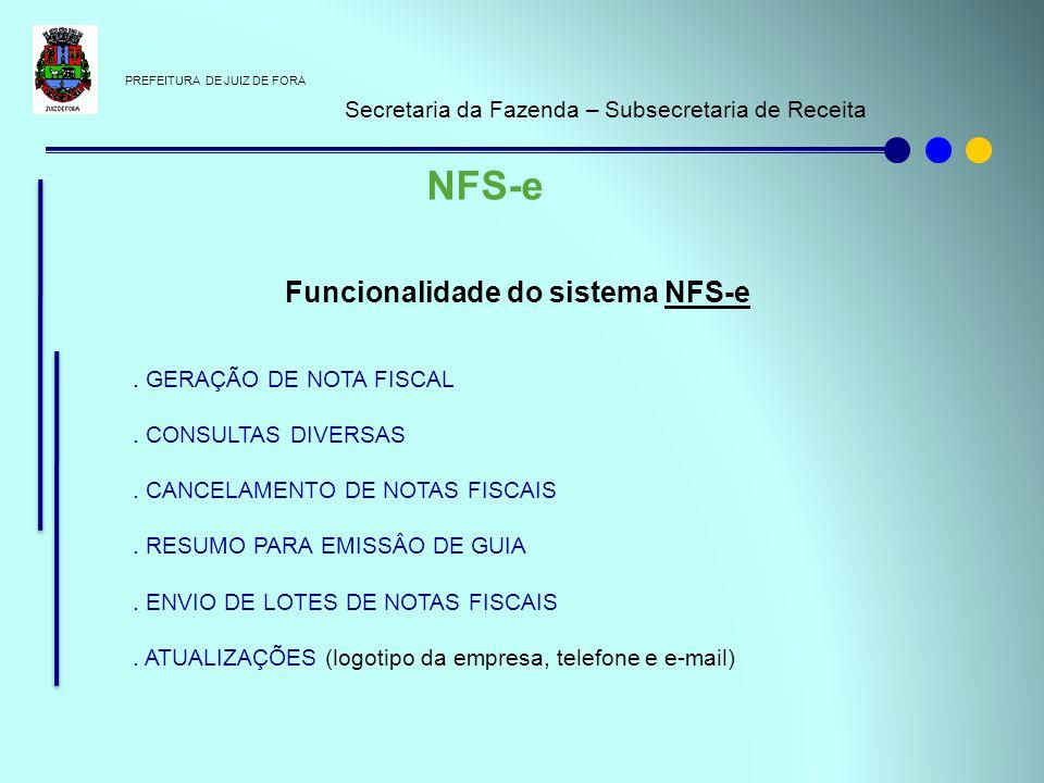 Funcionalidade do sistema NFS-e