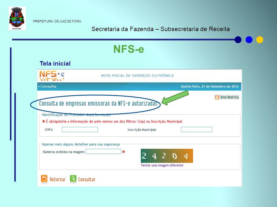 NFS-e Secretaria da Fazenda – Subsecretaria de Receita Tela inicial