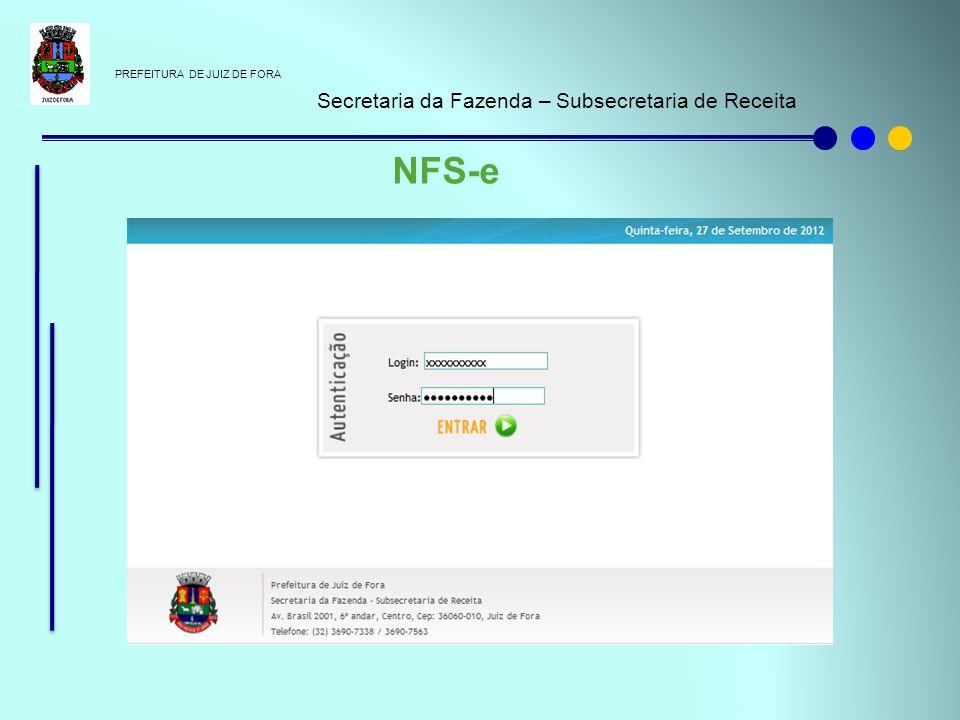 NFS-e Secretaria da Fazenda – Subsecretaria de Receita