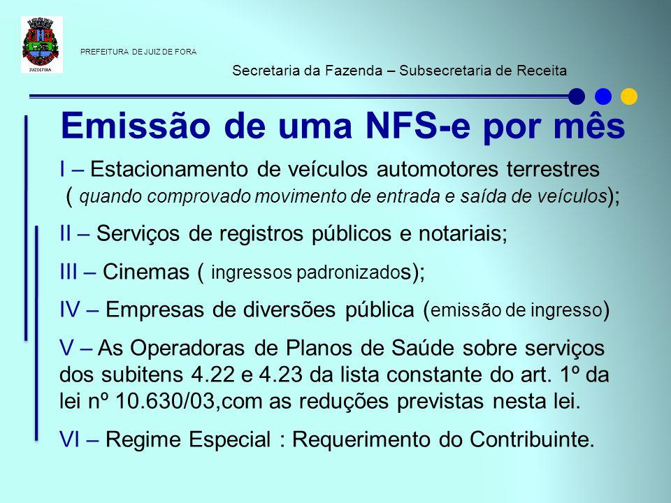 Emissão de uma NFS-e por mês