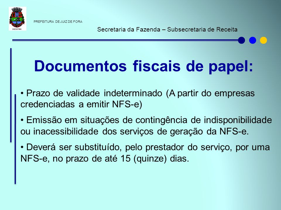 Documentos fiscais de papel: