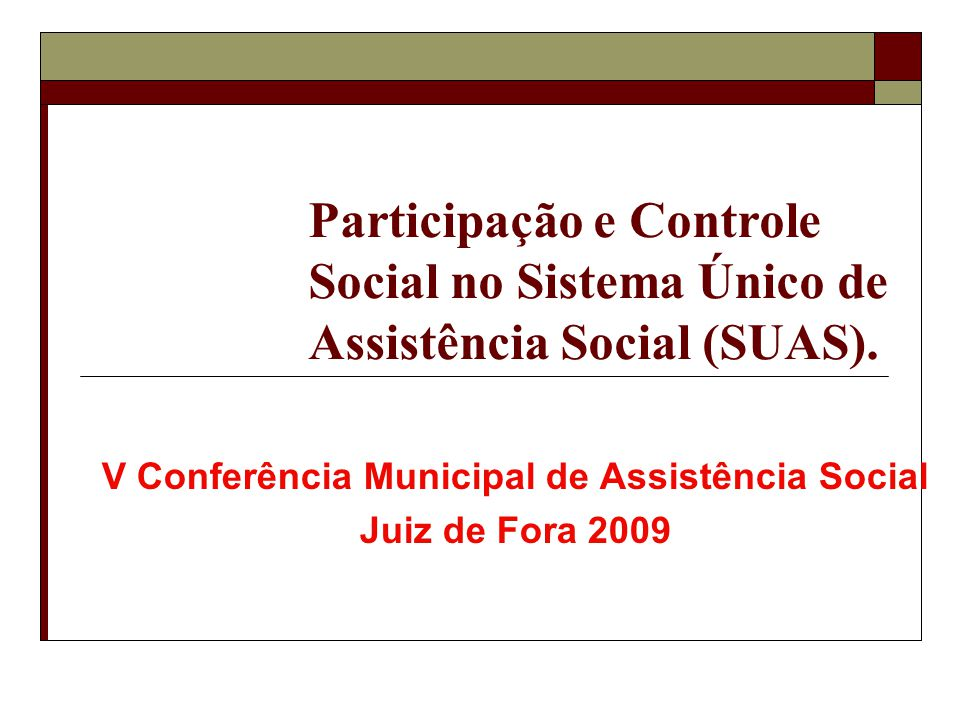V Conferência Municipal de Assistência Social Juiz de Fora 2009