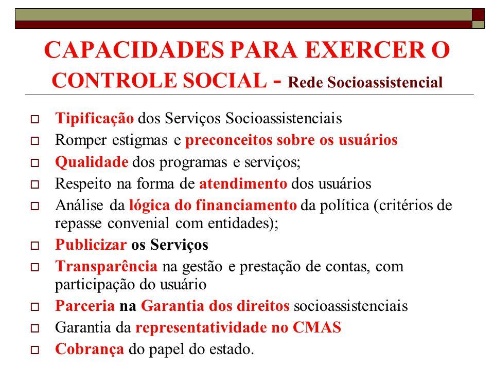 CAPACIDADES PARA EXERCER O CONTROLE SOCIAL - Rede Socioassistencial