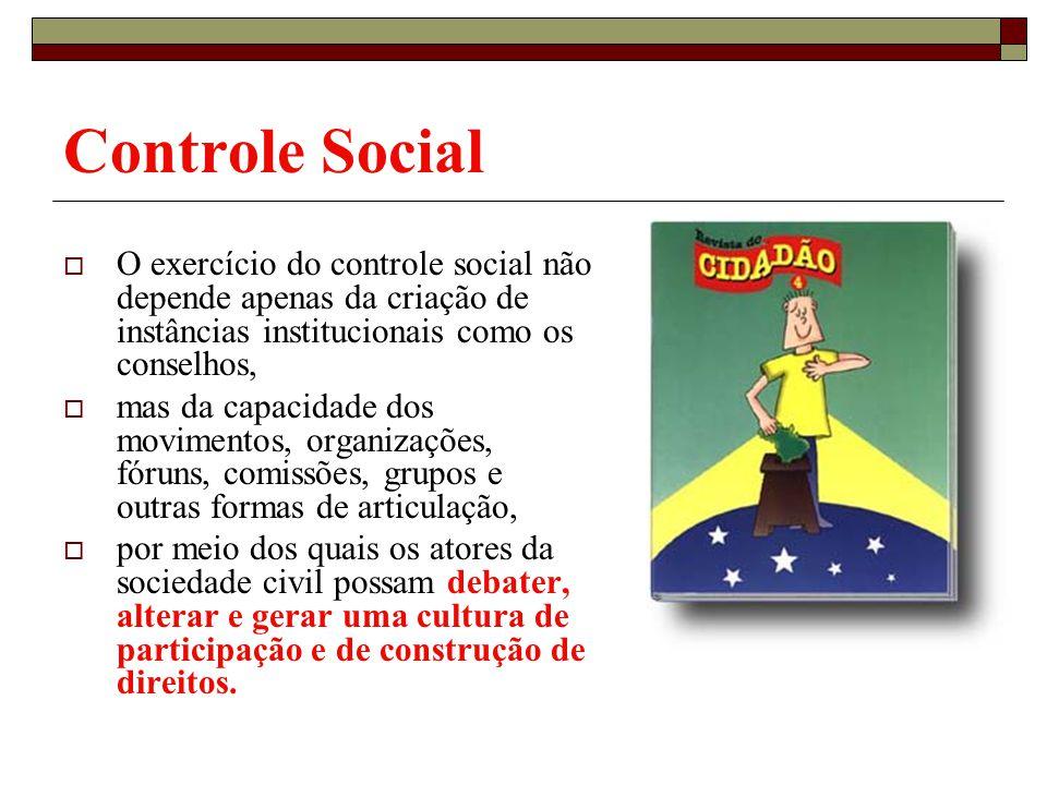 Controle Social O exercício do controle social não depende apenas da criação de instâncias institucionais como os conselhos,
