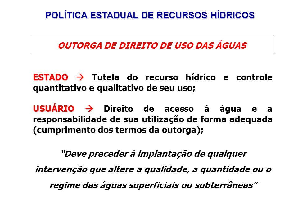 POLÍTICA ESTADUAL DE RECURSOS HÍDRICOS
