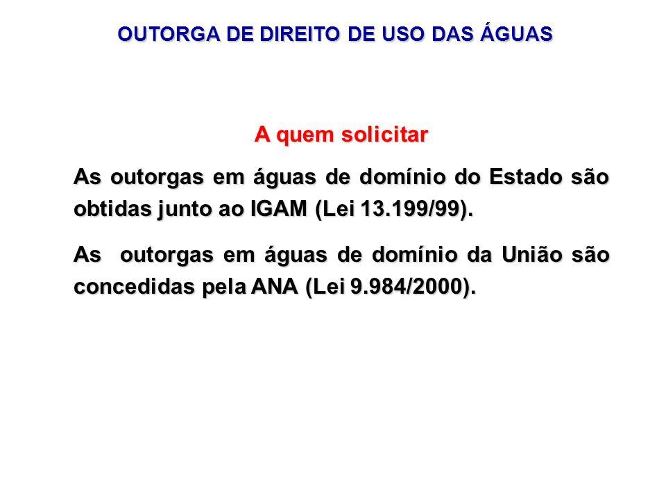 OUTORGA DE DIREITO DE USO DAS ÁGUAS