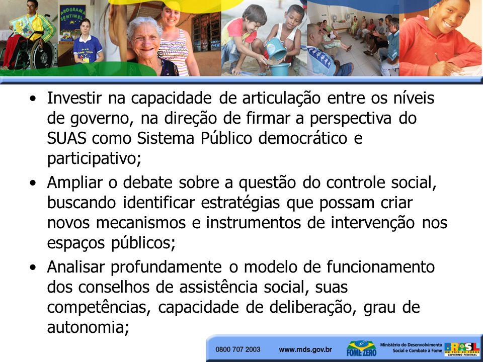 Investir na capacidade de articulação entre os níveis de governo, na direção de firmar a perspectiva do SUAS como Sistema Público democrático e participativo;
